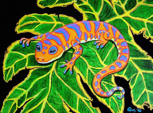 Gecko Hanging On Print by Nick Gustafson