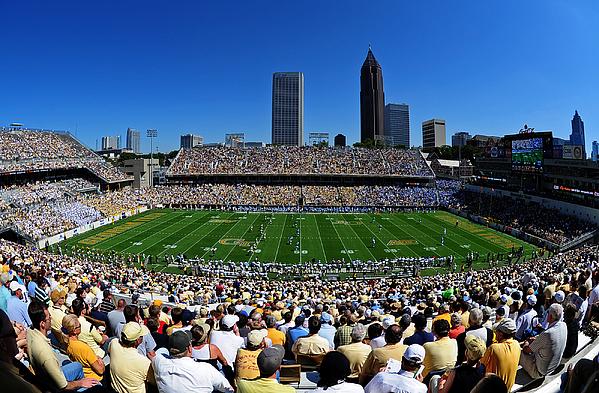 Georgia Tech Bobby Dodd Stadium And Atlanta Skyline  Print by Getty Images