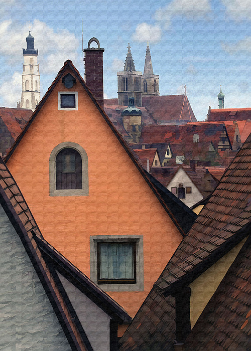 German Rooftops Print by Sharon Foster