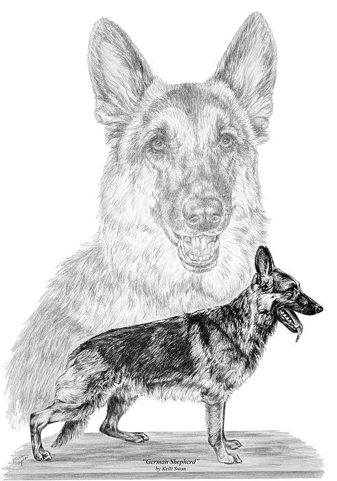 German Shepherd Dogs Print Print by Kelli Swan
