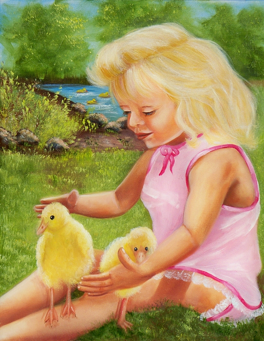 Girl With Ducks Print by Joni McPherson