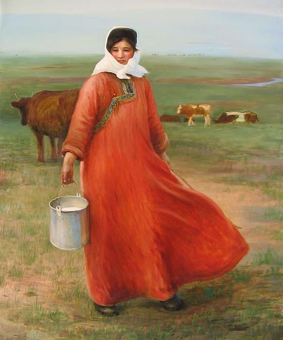 Girl With Red Robe Print by Ji-qun Chen
