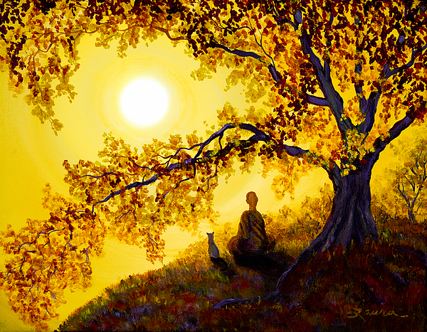 Golden Afternoon Meditation Print by Laura Iverson