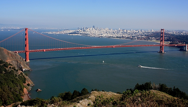 Golden Gate Bidge And Bay Print by Luiz Felipe Castro