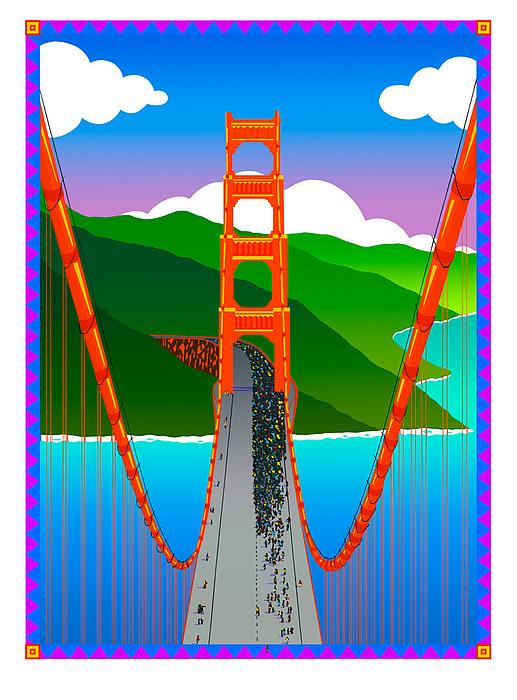 Golden Gate Print by Phil Dynan