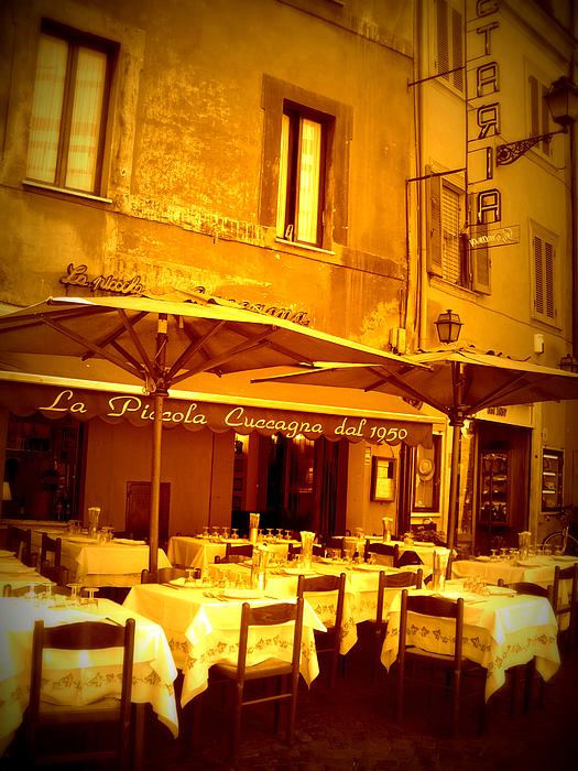 Golden Italian Cafe Print by Carol Groenen
