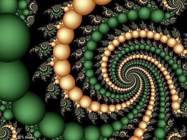 Golden Pearls Print by Sandra Bauser Digital Art