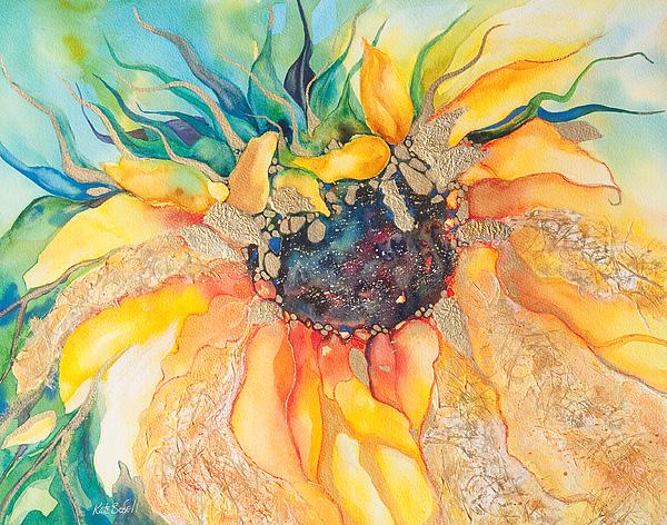 Golden Sunflower Print by Kate Bedell