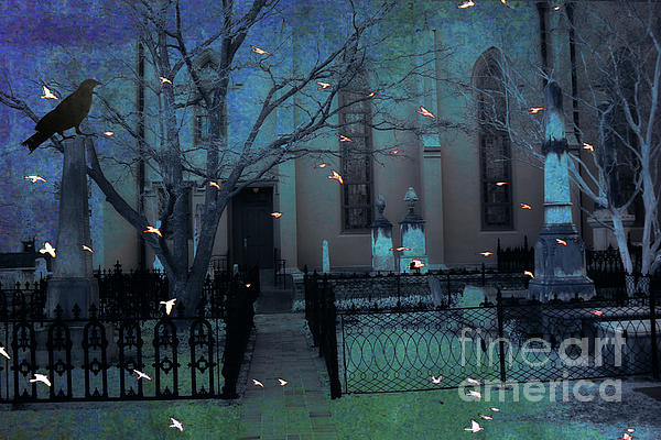 Gothic Surreal Ravens Crows Cemetery Landscape Print by Kathy Fornal