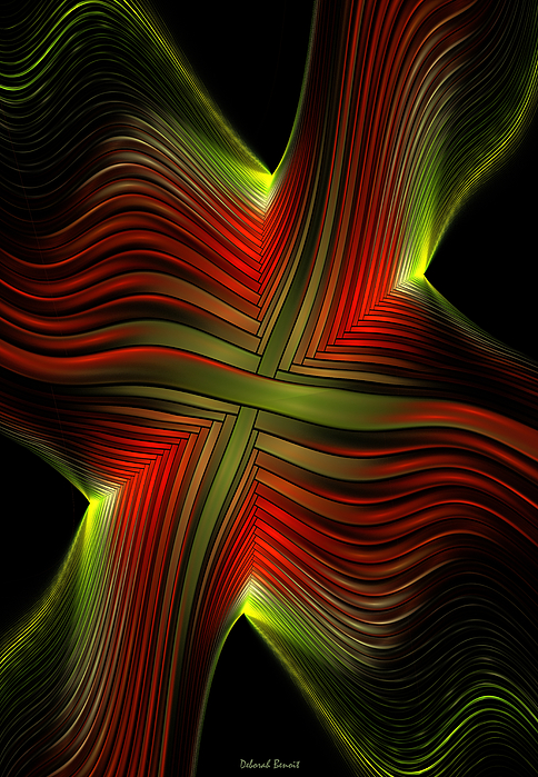 Green And Red Lines By Deborah Benoit
