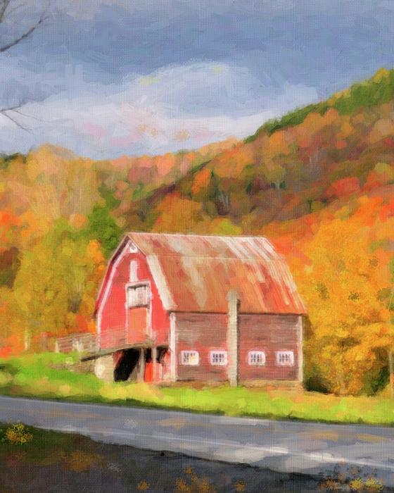 Green Mountains Barn Print by Betty LaRue