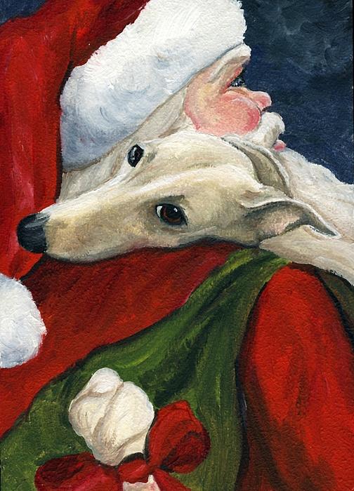 Greyhound And Santa Print by Charlotte Yealey