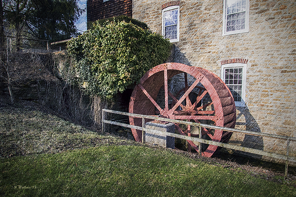 Grist mill waterwheel print by brian wallace