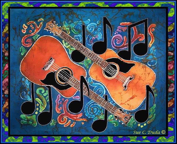 Guitars - Bordered Print by Sue Duda