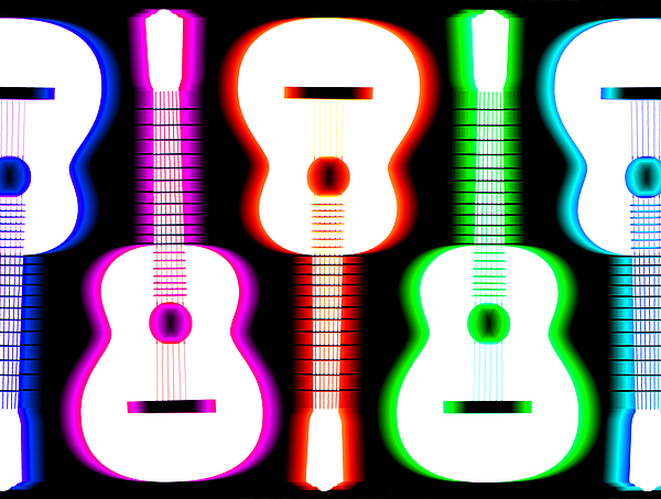 Guitars On Fire 5 Print by Andy Smy