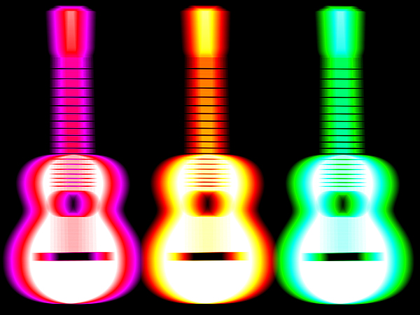Guitars On Fire Print by Andy Smy