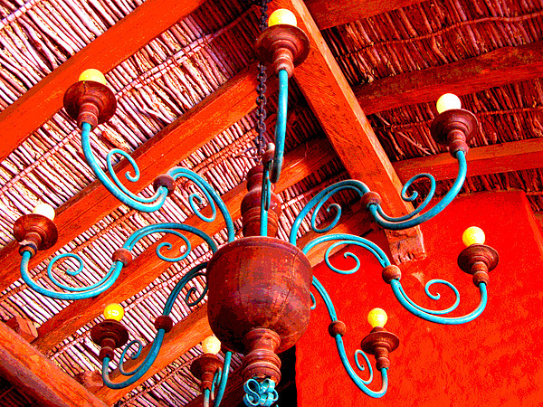 Hacienda Chandelier By Michael Fitzpatrick Print by Olden Mexico