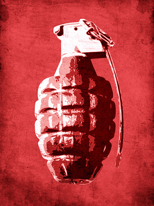 Hand Grenade On Red Print by Michael Tompsett