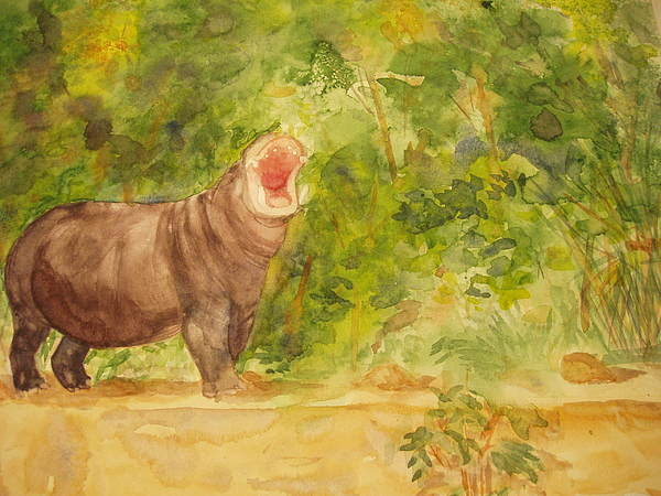 Happy Hippo Print by Vicki  Housel