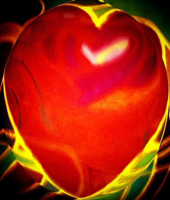 Heart Beating With Love Print by Brenda Adams