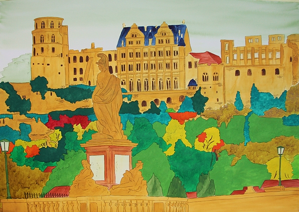 Heidelberg Castle And Minerva Print by Michaela Bautz
