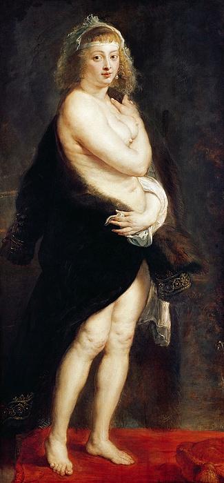 Helena Fourment In A Fur Wrap Print by Rubens