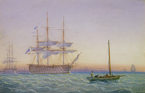 Hm Frigates At Anchor Print by John Joy