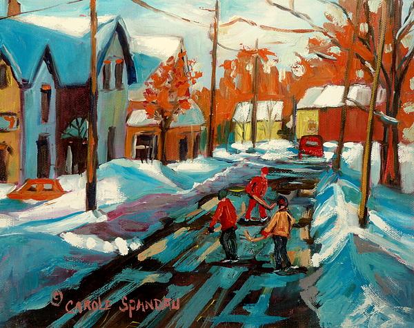 Hockey Game In Ville St Laurent Montreal Streetscenes Print by Carole Spandau