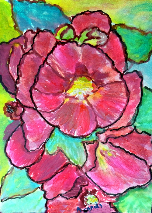 Anne Sands - Hollyhocks abstract