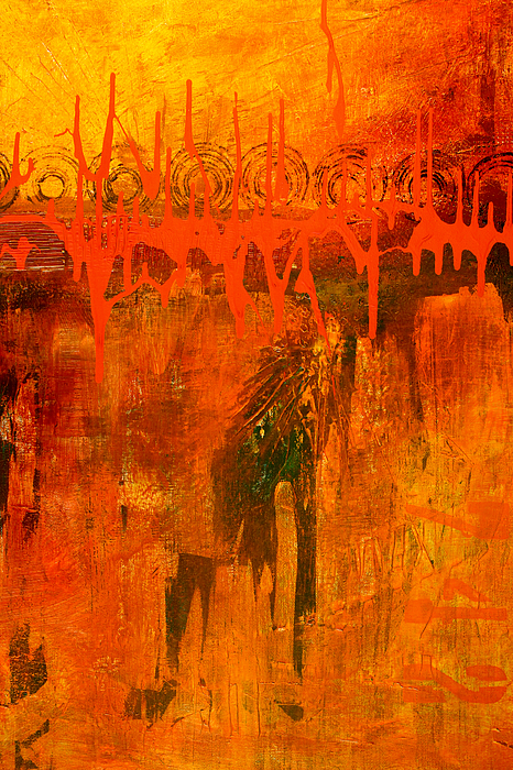 Holy War Abstract Painting Print by Nancy Merkle