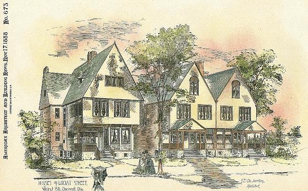 Houses On Locust Street Walnut Hills Cincinnati Ohio 1888 Print by SE DesJardins