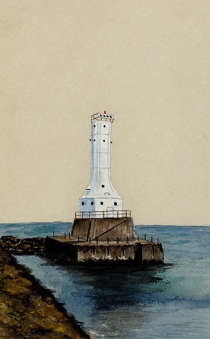 Huron Harbor Lighthouse Print by Michael Vigliotti