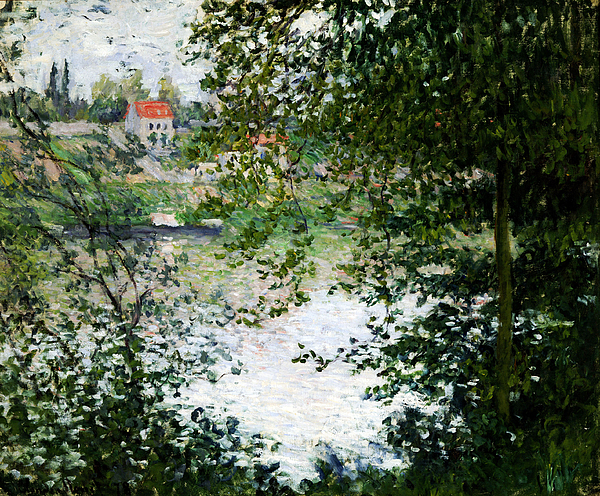 Ile De La Grande Jatte Through The Trees Print by Claude Monet