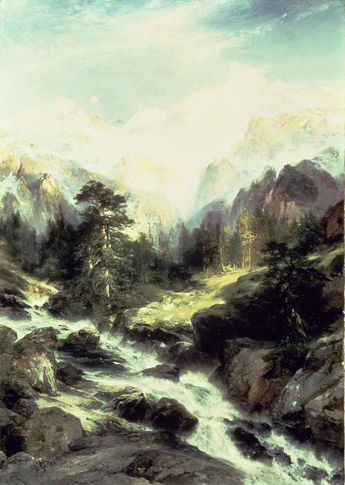 In The Teton Range Print by Thomas Moran