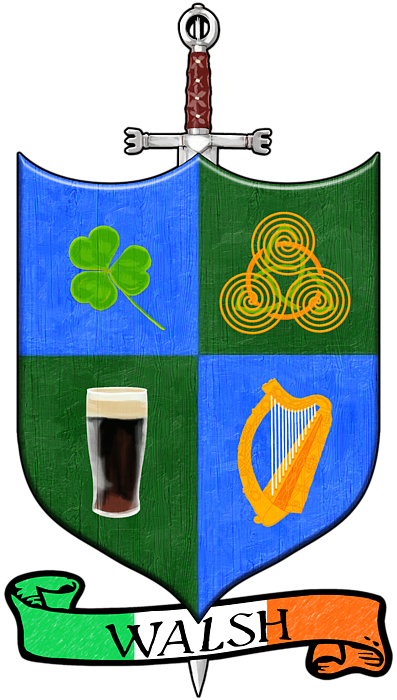Irish Coat Of Arms Walsh Adult V Neck For Sale By Mark E