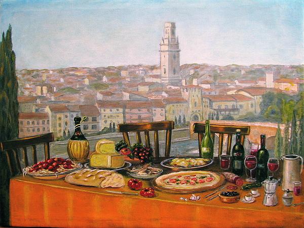 Italian Cityscape-verona Feast Print by Italian Art