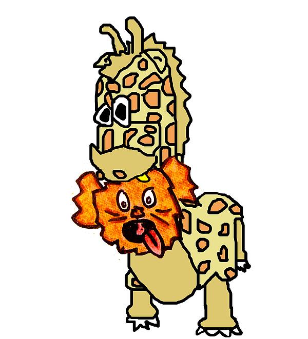 Izzy As Giraffe Print by Jera Sky