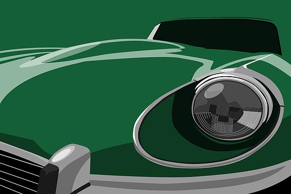 Jaguar E-type Print by Michael Tompsett