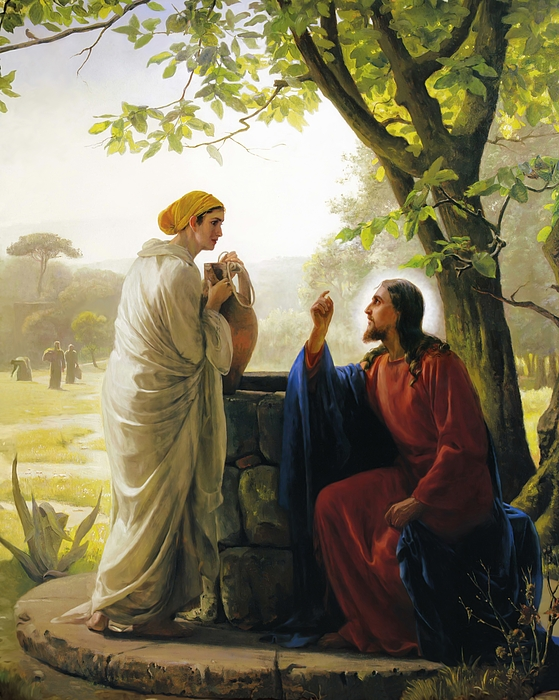 Jesus And The Samaritan Woman Print by Carl Bloch