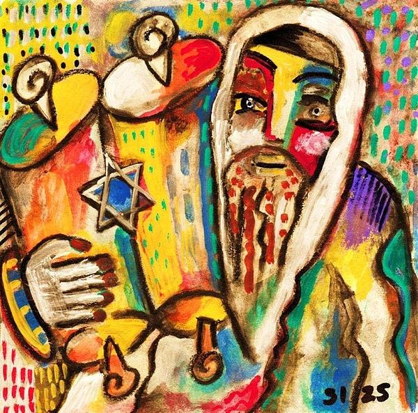 Jewish Celebrations Rejoicing In The Torah Print by Sandra Silberzweig