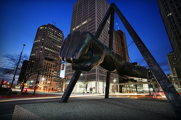 Joe Louis Fist Statue Jefferson And Woodward Ave. Detroit Michigan Print by Gordon Dean II
