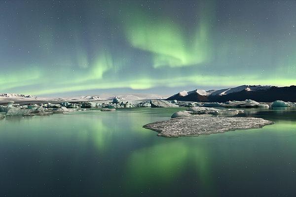 Jokulsarlon Lagoon Aurora Borealis Print by Reed Ingram Weir