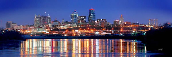 Kansas City Missouri Skyline At Night Print by Jon Holiday