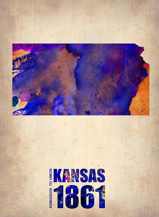 Kansas Watercolor Map Print by Naxart Studio