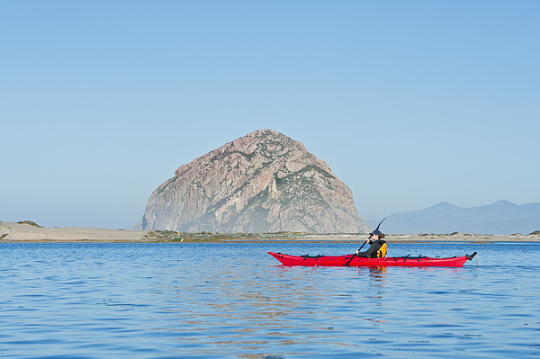 Kayaker In Morro Bay Print by Bill Brennan - Printscapes