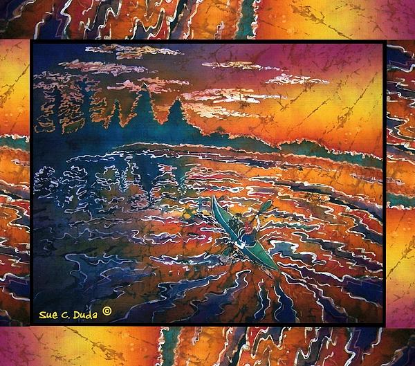 Kayaking Serenity - Bordered Print by Sue Duda