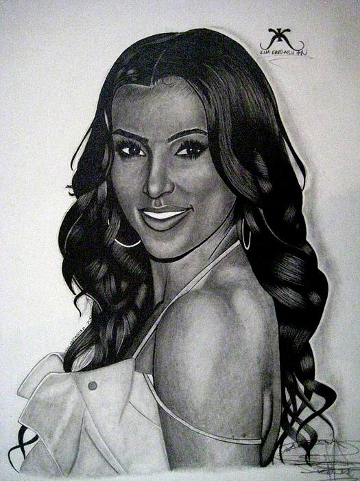 Kim Kardashian Drawing Print by Keeyonardo