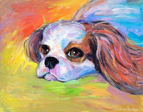 King Charles Cavalier Spaniel Dog Painting Print by Svetlana Novikova
