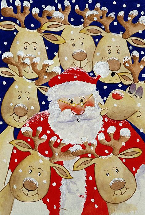 Kiss For Santa Print by Tony Todd