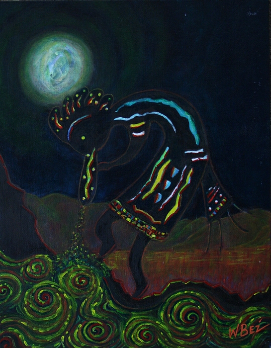 Kokopelli In Moonlight Print by William Bezik
